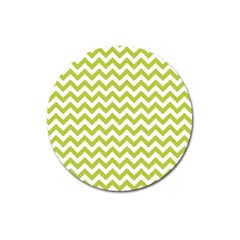 Spring Green And White Zigzag Pattern Magnet 3  (Round)