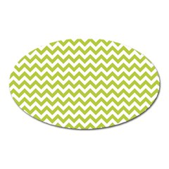 Spring Green And White Zigzag Pattern Magnet (Oval)