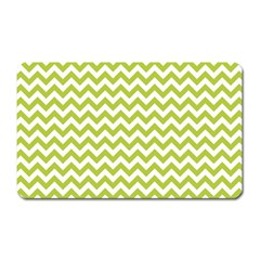 Spring Green And White Zigzag Pattern Magnet (Rectangular)