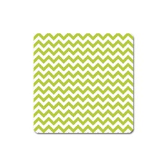 Spring Green And White Zigzag Pattern Magnet (square)