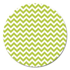 Spring Green And White Zigzag Pattern Magnet 5  (Round)