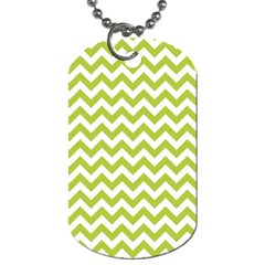 Spring Green And White Zigzag Pattern Dog Tag (one Sided)