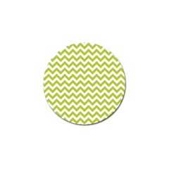 Spring Green And White Zigzag Pattern Golf Ball Marker
