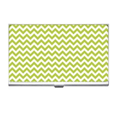 Spring Green And White Zigzag Pattern Business Card Holder