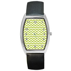 Spring Green And White Zigzag Pattern Tonneau Leather Watch