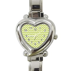 Spring Green And White Zigzag Pattern Heart Italian Charm Watch