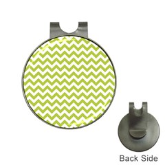 Spring Green And White Zigzag Pattern Hat Clip With Golf Ball Marker