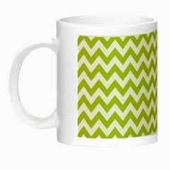 Spring Green And White Zigzag Pattern Glow In The Dark Mug
