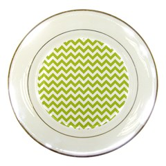 Spring Green And White Zigzag Pattern Porcelain Display Plate