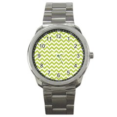 Spring Green And White Zigzag Pattern Sport Metal Watch