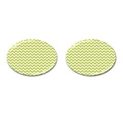 Spring Green And White Zigzag Pattern Cufflinks (Oval)
