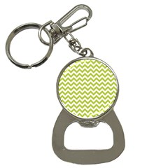 Spring Green And White Zigzag Pattern Bottle Opener Key Chain