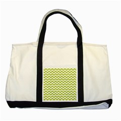 Spring Green And White Zigzag Pattern Two Toned Tote Bag