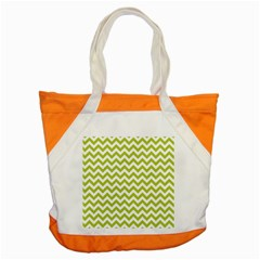 Spring Green And White Zigzag Pattern Accent Tote Bag