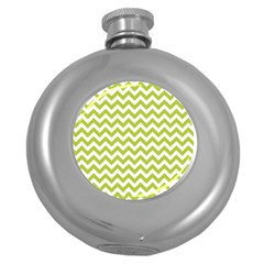 Spring Green And White Zigzag Pattern Hip Flask (Round)