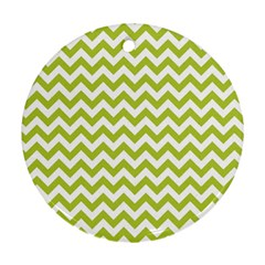 Spring Green And White Zigzag Pattern Round Ornament (two Sides)