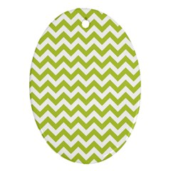 Spring Green And White Zigzag Pattern Oval Ornament (Two Sides)