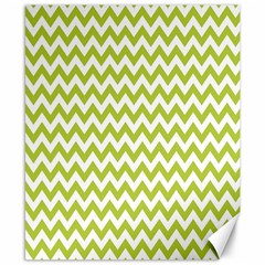 Spring Green And White Zigzag Pattern Canvas 8  X 10  (unframed)