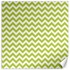 Spring Green And White Zigzag Pattern Canvas 20  X 20  (unframed)
