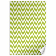 Spring Green And White Zigzag Pattern Canvas 24  x 36  (Unframed)
