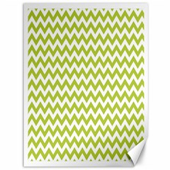 Spring Green And White Zigzag Pattern Canvas 36  x 48  (Unframed)