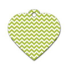 Spring Green And White Zigzag Pattern Dog Tag Heart (One Sided)