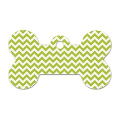 Spring Green And White Zigzag Pattern Dog Tag Bone (Two Sided)