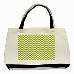Spring Green And White Zigzag Pattern Twin-sided Black Tote Bag