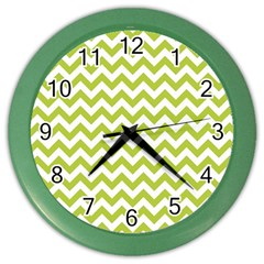 Spring Green And White Zigzag Pattern Wall Clock (color)