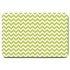 Spring Green And White Zigzag Pattern Large Door Mat
