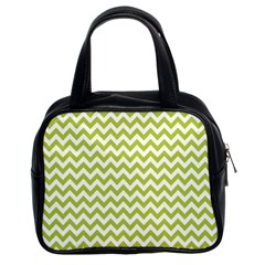 Spring Green And White Zigzag Pattern Classic Handbag (two Sides)