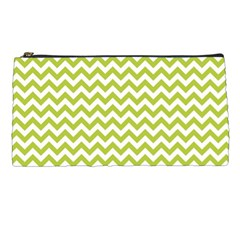 Spring Green And White Zigzag Pattern Pencil Case