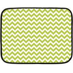 Spring Green And White Zigzag Pattern Mini Fleece Blanket (Two Sided)