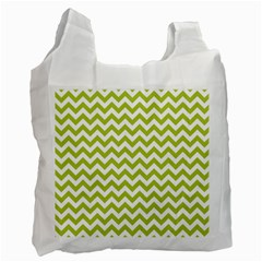 Spring Green And White Zigzag Pattern White Reusable Bag (One Side)