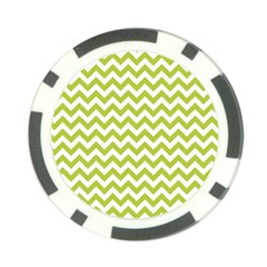 Spring Green And White Zigzag Pattern Poker Chip (10 Pack)