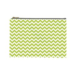 Spring Green And White Zigzag Pattern Cosmetic Bag (large)