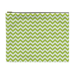 Spring Green And White Zigzag Pattern Cosmetic Bag (XL)