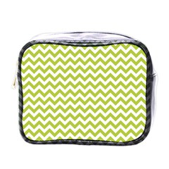 Spring Green And White Zigzag Pattern Mini Travel Toiletry Bag (one Side)