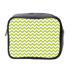Spring Green And White Zigzag Pattern Mini Travel Toiletry Bag (two Sides)