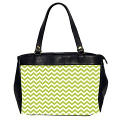 Spring Green And White Zigzag Pattern Oversize Office Handbag (Two Sides)