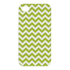 Spring Green And White Zigzag Pattern Apple Iphone 4/4s Premium Hardshell Case