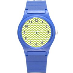 Spring Green And White Zigzag Pattern Plastic Sport Watch (Small)