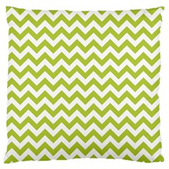 Spring Green And White Zigzag Pattern Large Cushion Case (Two Sided)