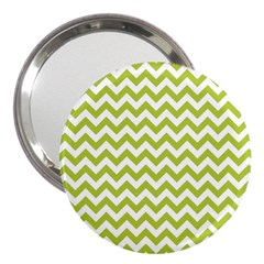 Spring Green And White Zigzag Pattern 3  Handbag Mirror