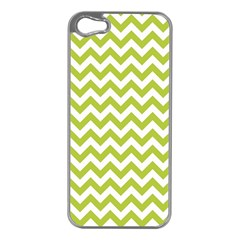 Spring Green And White Zigzag Pattern Apple iPhone 5 Case (Silver)