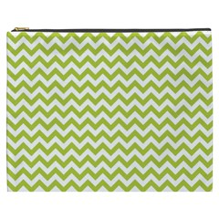 Spring Green And White Zigzag Pattern Cosmetic Bag (XXXL)