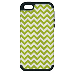 Spring Green And White Zigzag Pattern Apple Iphone 5 Hardshell Case (pc+silicone)