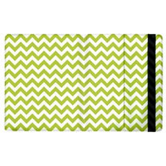 Spring Green And White Zigzag Pattern Apple iPad 2 Flip Case