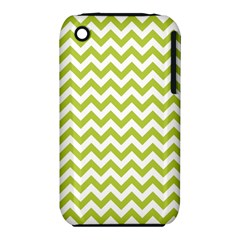 Spring Green And White Zigzag Pattern Apple Iphone 3g/3gs Hardshell Case (pc+silicone)