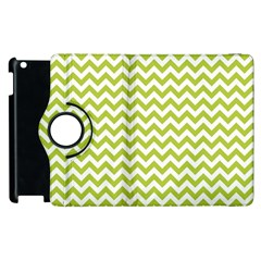 Spring Green And White Zigzag Pattern Apple iPad 2 Flip 360 Case